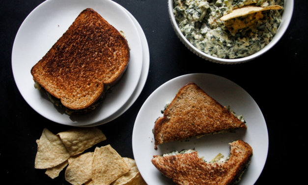 Spinach, Artichoke and Chicken Grilled Cheese