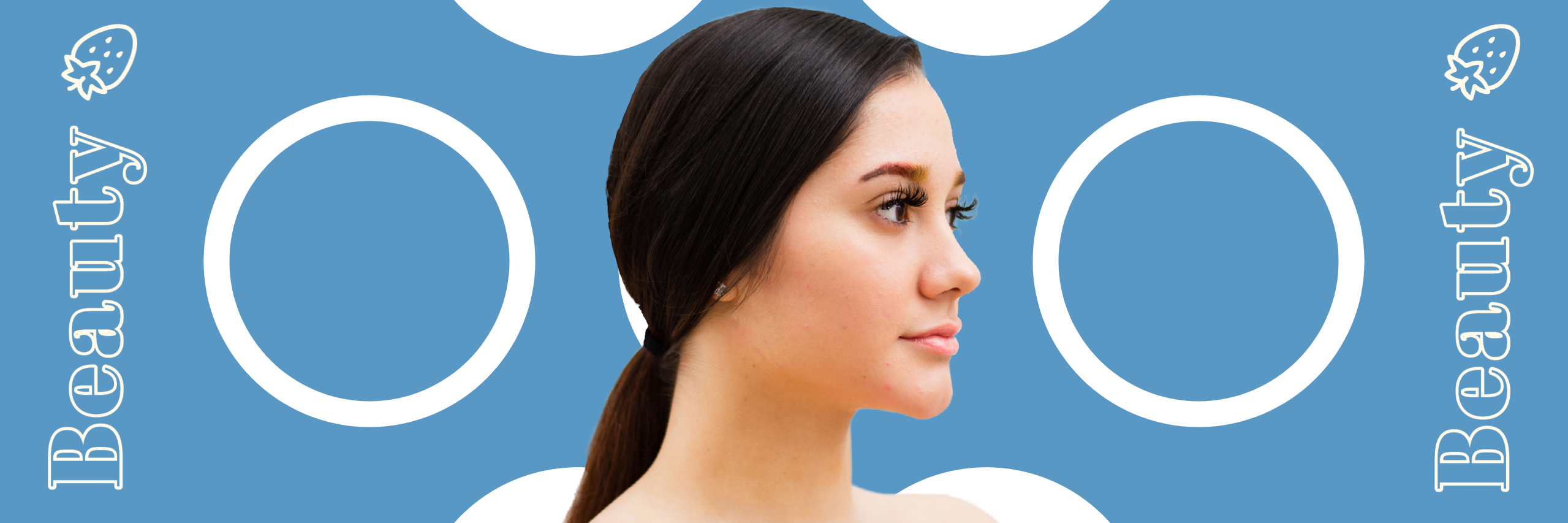 Beauty graphic with blue background and white text with model in the center