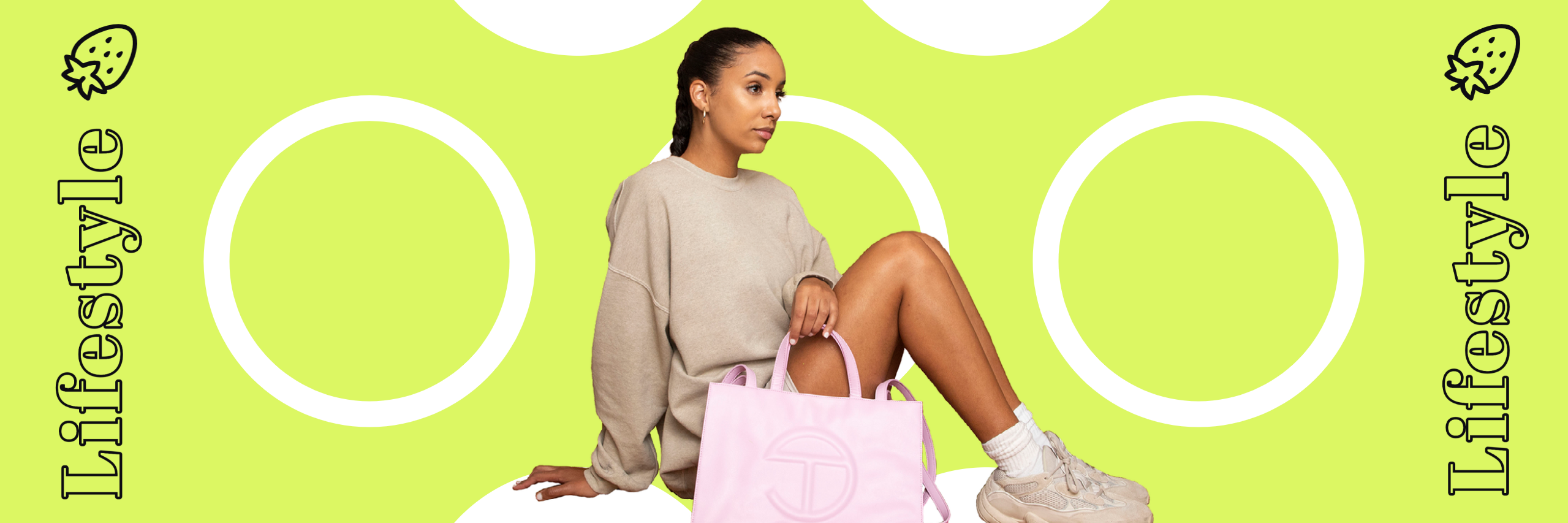 Lifestyle graphic with lime green background, black text, and model in the center