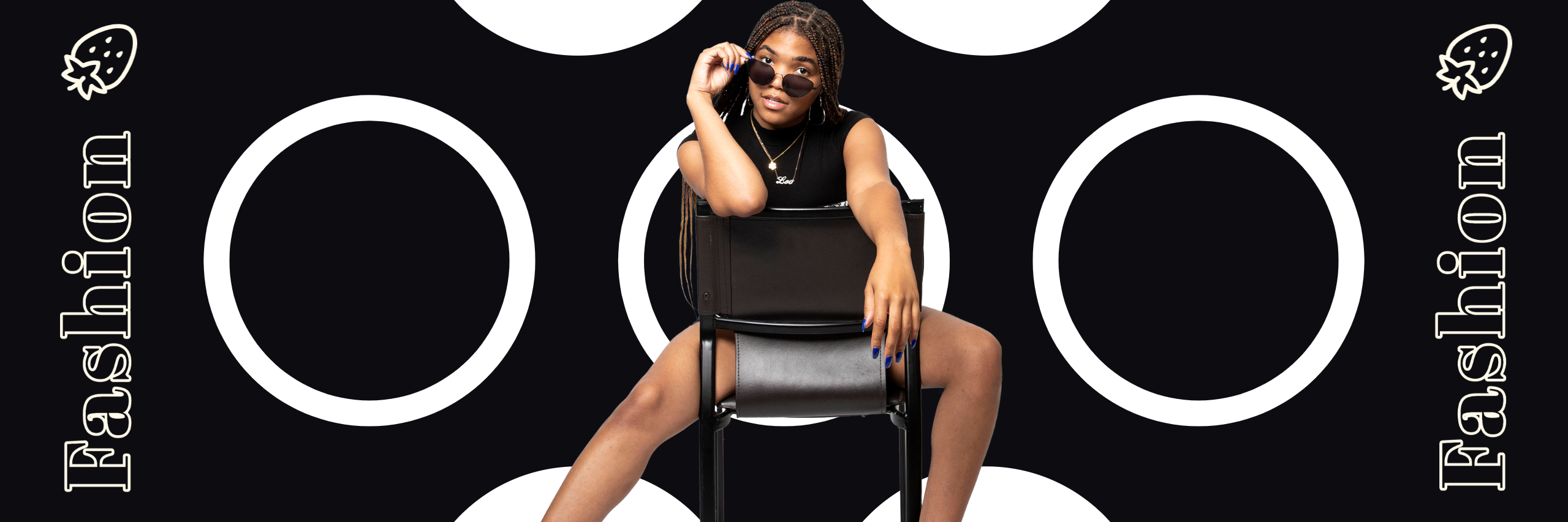 Fashion Cover Graphic with white text, black background, and model in the center